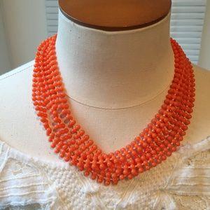 Vintage three-strand orange bead necklace